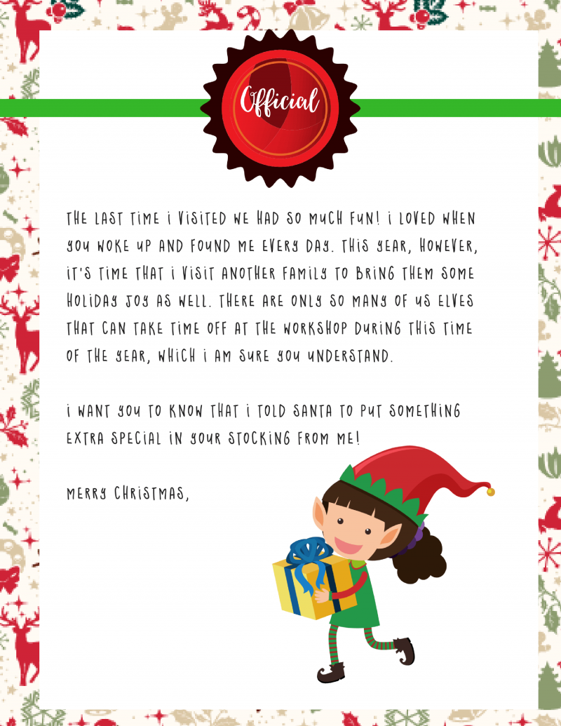 Elf on the Shelf Goodbye Letter : Free Printable