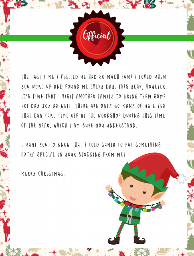 Elf Shelf Goodbye Letter | Elf on the Shelf Printable FREE