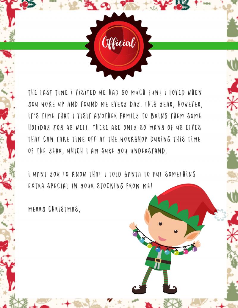 Elf Shelf Goodbye Letter | Elf on the Shelf Printable FREE