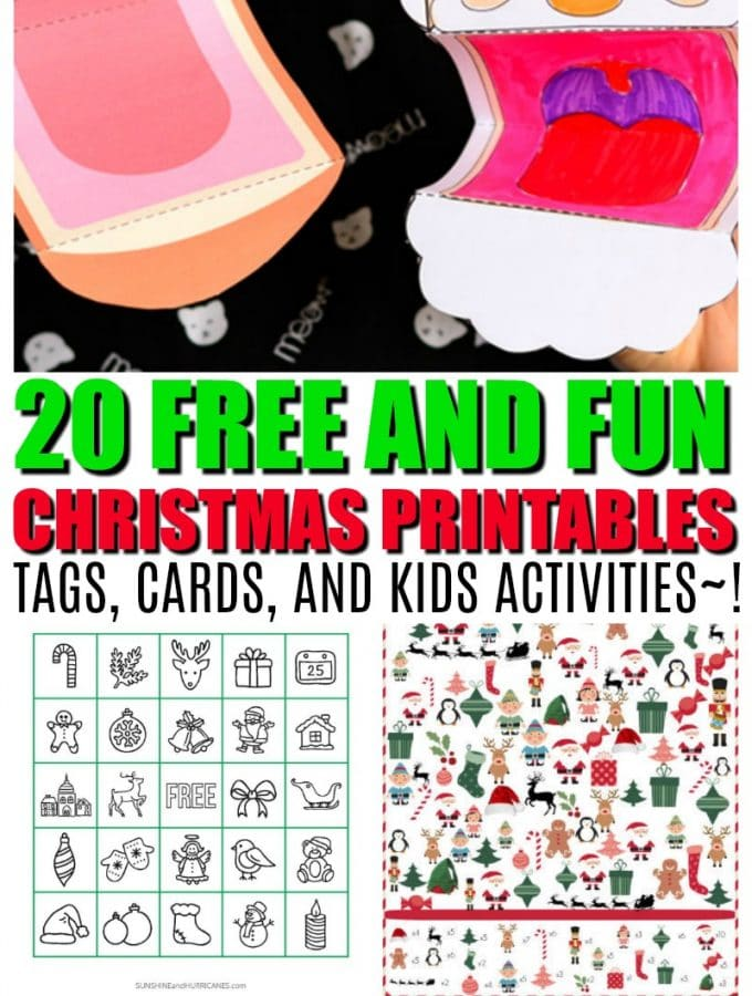 20 Free Christmas Printables that will make your season merry and bright, #printables for holiday season from tags, to cards, to kids activities!