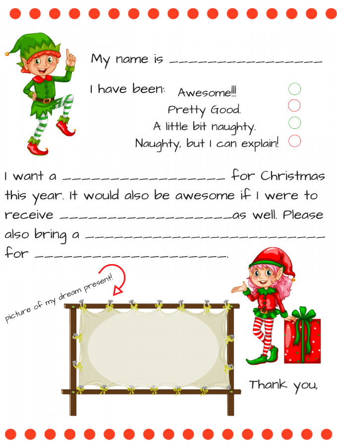Free Dear Santa letter printable | Fill in blank Santa letter for younger kids plus older child dear Santa template, FREE PRINTABLE