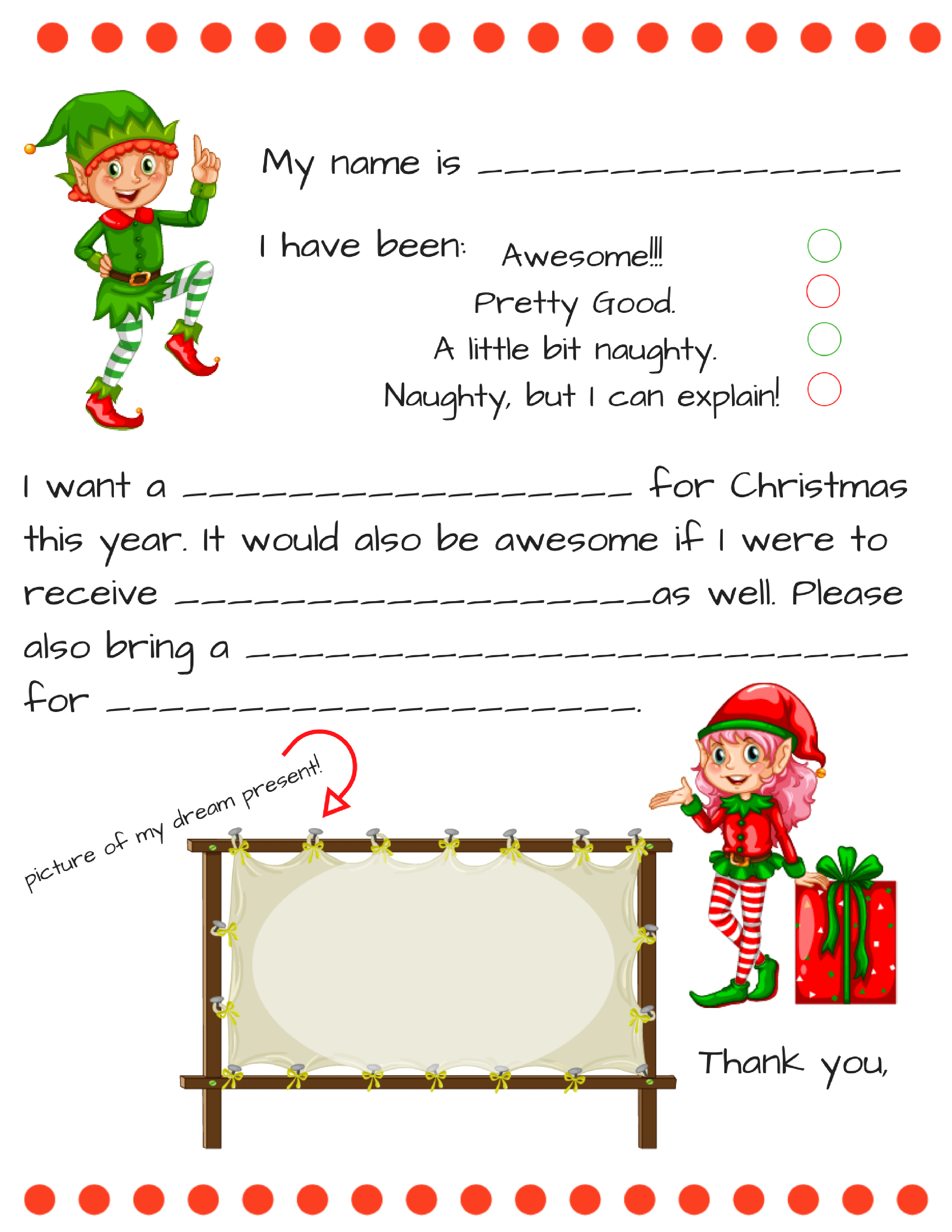 Free Dear Santa letter printable | Fill in blank Santa letter for younger kids plus older child dear Santa template, FREE PRINTABLE