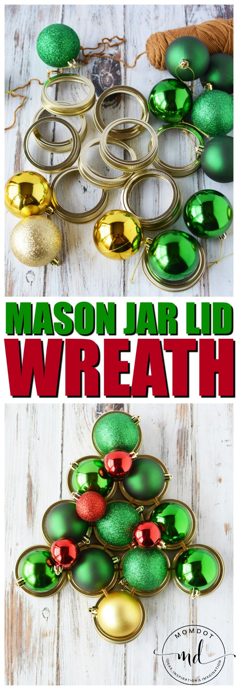 Mason Jar Lid Wreath | Christmas Wreath Tutorial using Mason Jar Lids | Holiday Mason Jar Crafts