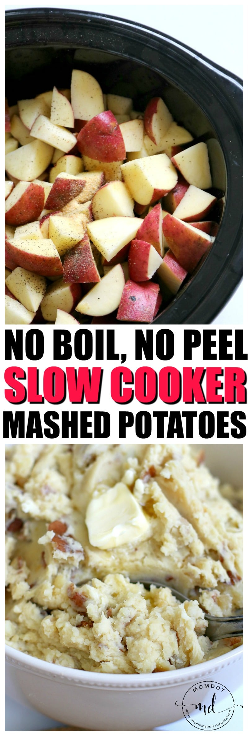 How to make Slow Cooker Mashed Potatoes, No Boil, No peel mashed potatoes in a crock pot, so easy you can make them perfect every meal! Recipe
