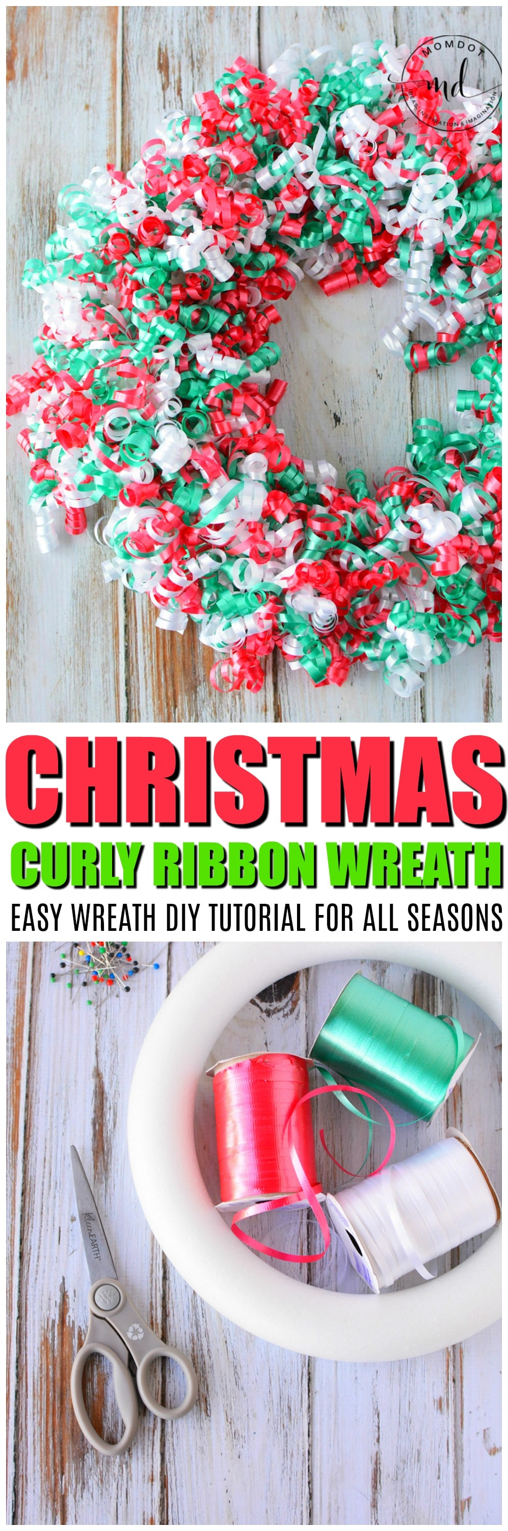Christmas Wreaths DIY for Front Door, a Curly Ribbon Wreath Idea and Tutorial