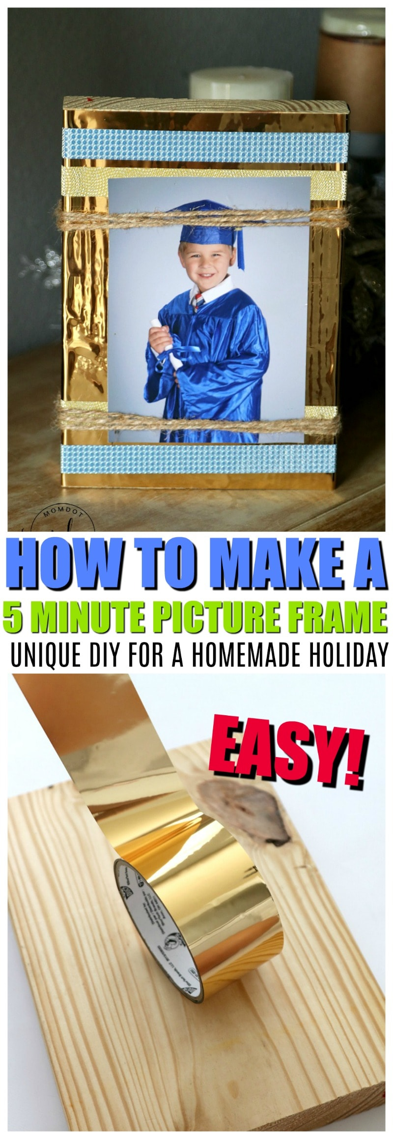 Homemade Picture Frame | How to make a Picture Frame with no glass, no saw - easy self standing picture frame DIY | Makes a perfect Homemade Gift that is child friendly, Block of Wood, Duck Tape Tutorial
