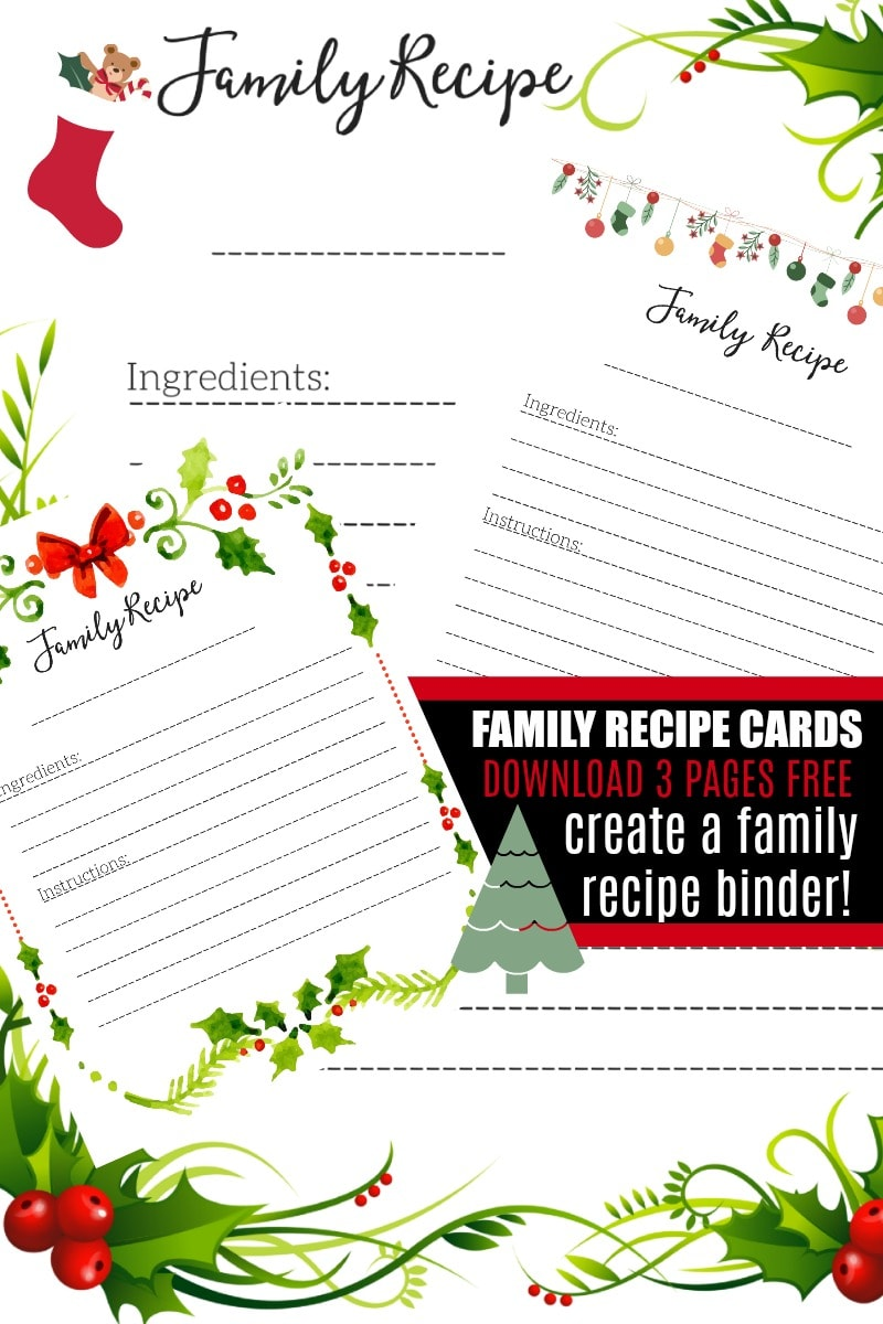 free printable recipe cards to create a 3 ring family recipe binder