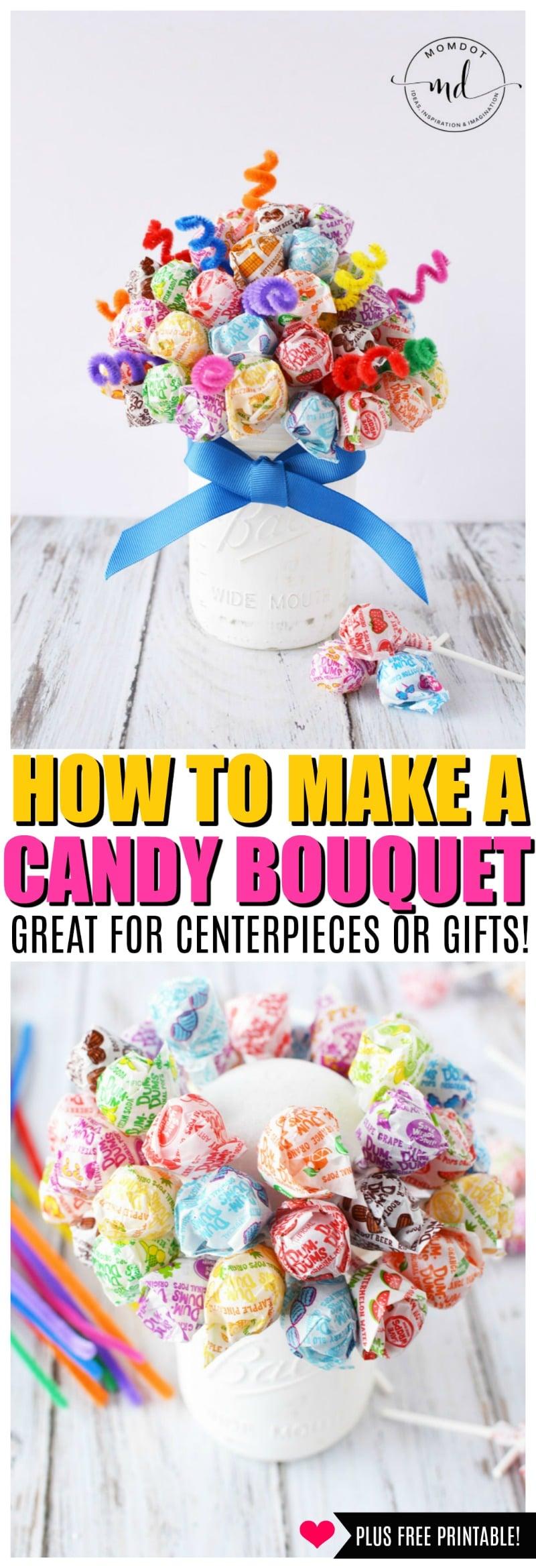 DIY candy bouquet instructions