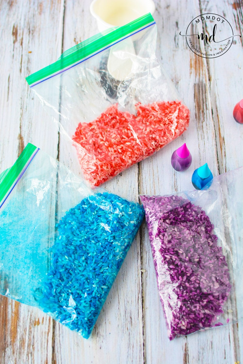 colored rice in baggies