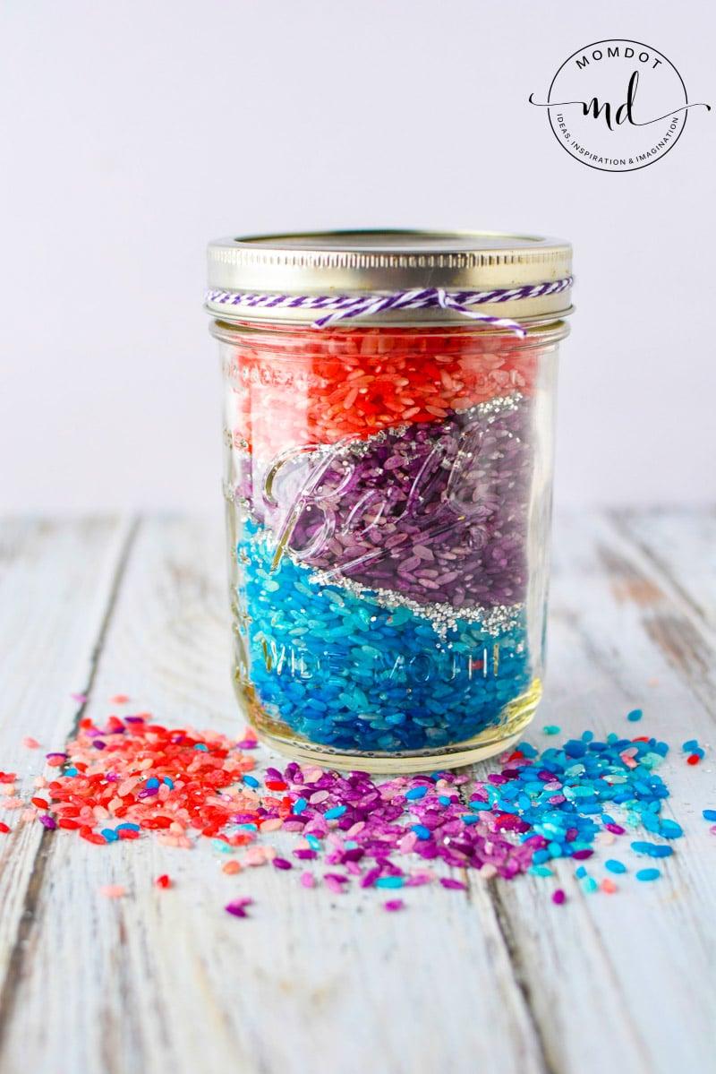 rice in mason jar