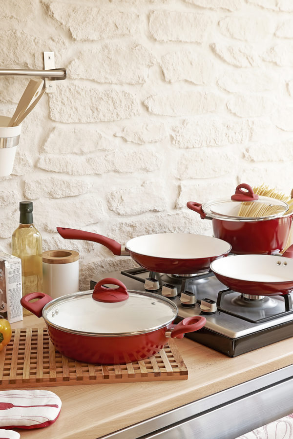 Vremi 8 Piece Ceramic Nonstick Cookware Set - Induction...